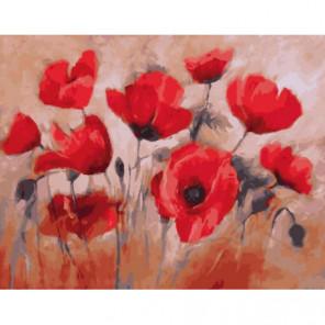 Маки в поле Раскраска картина по номерам на холсте