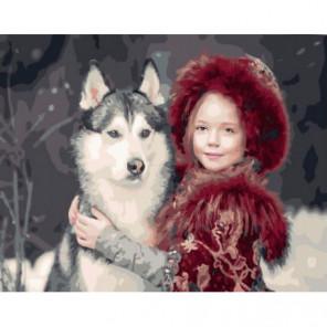 Хаски и девочка Раскраска картина по номерам на холсте