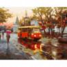 Трамвай под дождем Раскраска картина по номерам на холсте