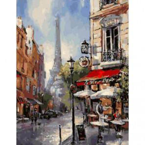 Парижские переулки Раскраска картина по номерам на холсте