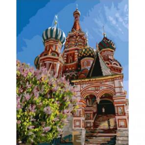 Храм Василия Блаженного солнечной весной Раскраска картина по номерам на холсте