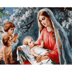 Ангелы и Дева Мария с младенцем Раскраска картина по номерам на холсте