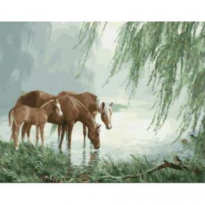 Лошади на водопое Раскраска картина по номерам на холсте