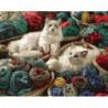 Кошки среди клубков Раскраска картина по номерам на холсте