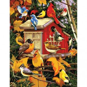 Осенний скворечник Раскраска картина по номерам на холсте