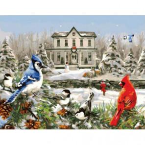 Зимние птицы на еловой ветке Раскраска картина по номерам на холсте