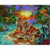 Семья тигров в райском саду Алмазная мозаика вышивка Painting Diamond