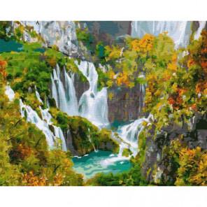 Высокие водопады Раскраска картина по номерам на холсте