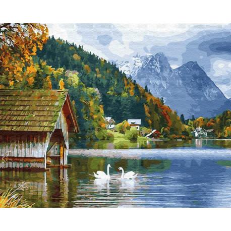 Лебеди на озере в горах Раскраска картина по номерам на холсте