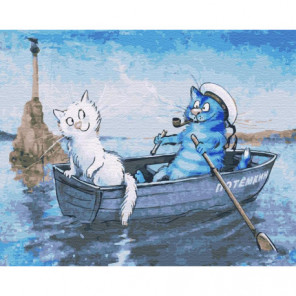 Коты в лодке Раскраска картина по номерам на холсте