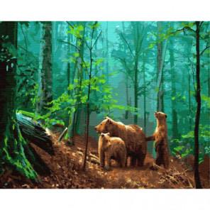 Три медведя в лесу Раскраска картина по номерам на холсте