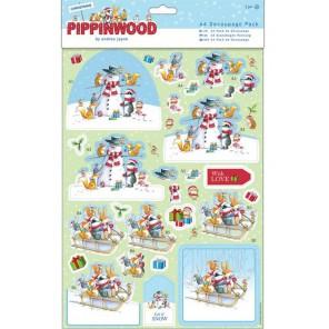 Снежные друзья Pippinwood Christmas Набор бумаги и высеченных элементов для скрапбукинга, кардмейкинга Docrafts