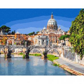 Мост святого ангела. Италия Раскраска картина по номерам на холсте