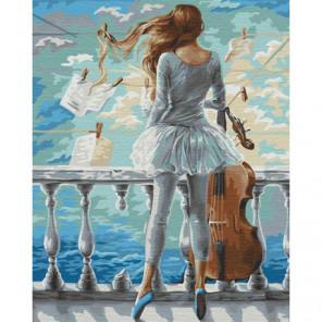 Девушка и виолончель Раскраска картина по номерам на холсте