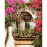 Цветочный балкончик Раскраска картина по номерам на холсте