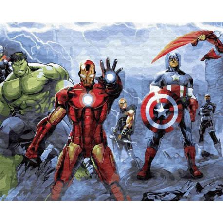 Мстители Марвел Раскраска картина по номерам на холсте ZX ...