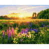 Поляна с цветами Раскраска картина по номерам на холсте