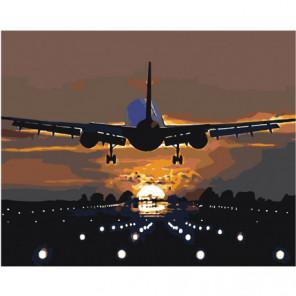 Взлетающий самолет 100х125 Раскраска картина по номерам на холсте