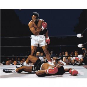 Бокс. Мухаммед Али на ринге 80х100 Раскраска картина по номерам на холсте