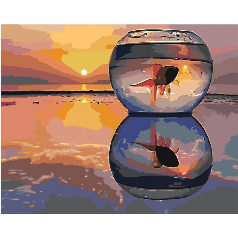 Золотая рыбка в аквариуме на закате 80х100 Раскраска ...