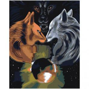 Пара волков 80х100 Раскраска картина по номерам на холсте