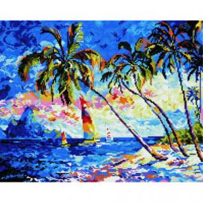 Парусник у пляжа Алмазная мозаика вышивка Painting Diamond