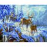 Семья оленей в зимнем лесу Алмазная мозаика вышивка Painting Diamond