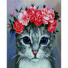 Котик с венком Алмазная мозаика вышивка Painting Diamond