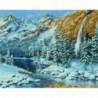 Горный водопад зимой Алмазная мозаика вышивка Painting Diamond