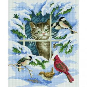 Зиминие птицы и котенок Алмазная мозаика вышивка Painting Diamond