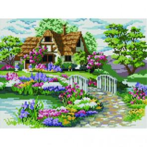 Цветник у тихой реки Алмазная мозаика вышивка Painting Diamond