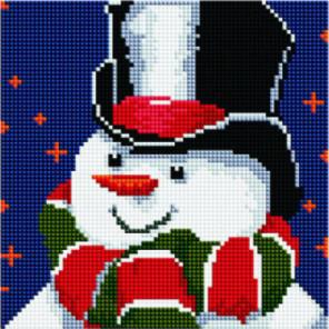 Снеговик в шляпе и шарфе Алмазная мозаика вышивка Painting Diamond