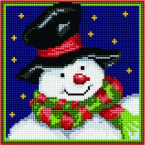 Снеговик в шляпе Алмазная мозаика вышивка Painting Diamond