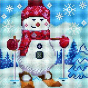 Снеговик на лыжах Алмазная мозаика вышивка Painting Diamond