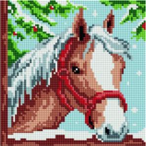 Новогодняя лошадка Алмазная мозаика вышивка Painting Diamond