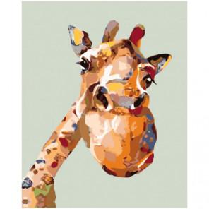 Веселый радужный жираф 100х125 Раскраска картина по номерам на холсте