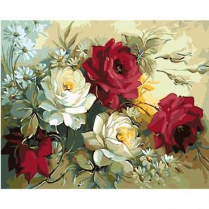 Ромашки и пышные розы 100х125 Раскраска картина по номерам на холсте