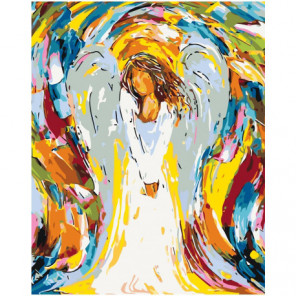 Радужный ангел девушка 80х100 Раскраска картина по номерам на холсте