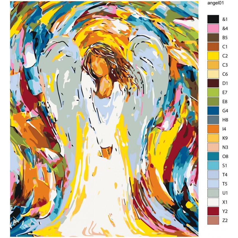 Радужный ангел девушка Раскраска картина по номерам на ...