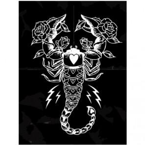 Знак зодиака скорпион на черном фоне Раскраска картина по номерам на холсте