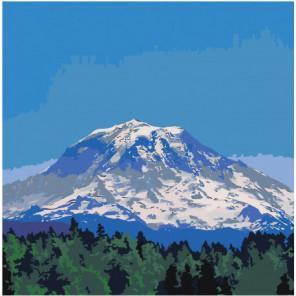 Горная вершина и лес 80х80 Раскраска картина по номерам на холсте