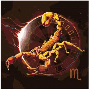 Желтый скорпион, знак зодиака 80х80 Раскраска картина по номерам на холсте