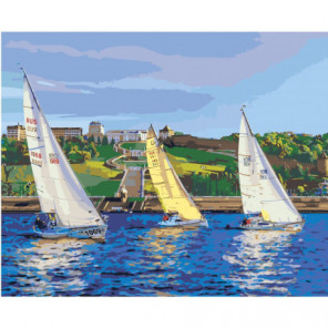 Парусная регата, яхты 100х125 Раскраска картина по номерам на холсте