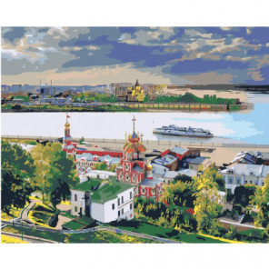Стрелка на реке Волга, Нижний Новгород Раскраска картина по номерам на холсте