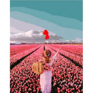 Солнечное поле тюльпанов Раскраска картина по номерам на холсте