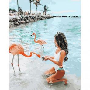 С розовым фламинго Раскраска картина по номерам на холсте