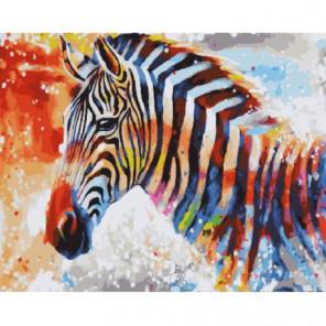 Радужная зебра Раскраска картина по номерам на холсте