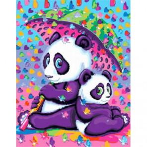 Панды под зонтом Раскраска картина по номерам на холсте