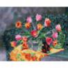 Тюльпаны в прозрачной вазе Раскраска картина по номерам на холсте