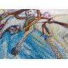 Фрагмент вышитой работы Мчится тройка Набор для частичной вышивки бисером Паутинка Б-1476